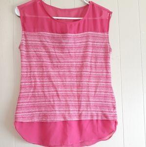 Ann Taylor petite pink striped tank top blouse xs